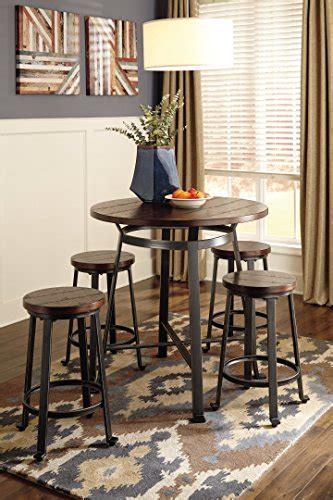 ashley furniture signature design challiman bar stool counter height set   rustic