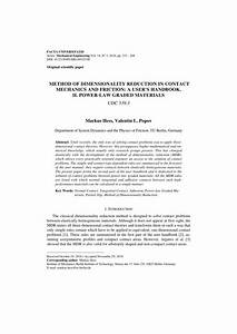 Pdf  Method Of Dimensionality Reduction In Contact