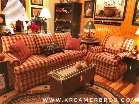Country Style Loveseats by Check Country Style Sofa With Soft Plush Cushions