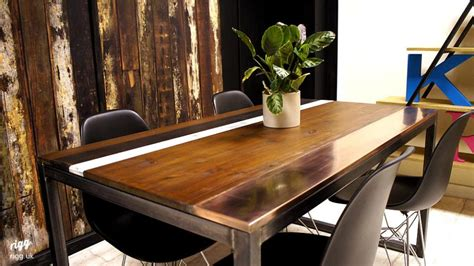 wood copper top dining table