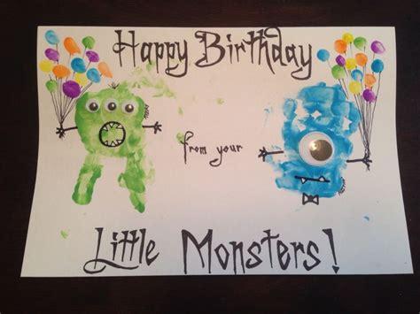 monster handprint birthday card  fingerprint balloons