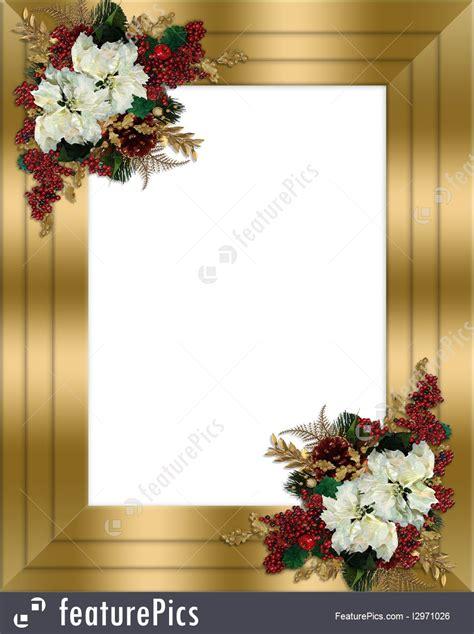templates christmas border gold floral stock