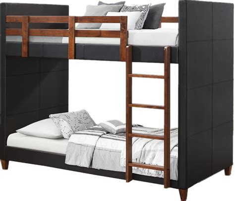 twin  twin black leatherette upholstered kids bunk bed transitional bunk beds  flatfair