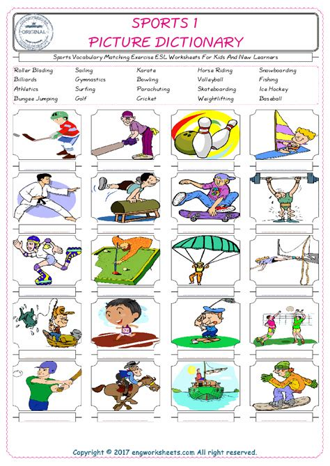 Sports Vocabulary Matching Exercise Esl Worksheets For Kids And New Learners