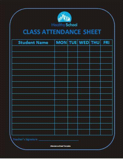 Template Class C Class Attendance Sheet Format Free Business Templates