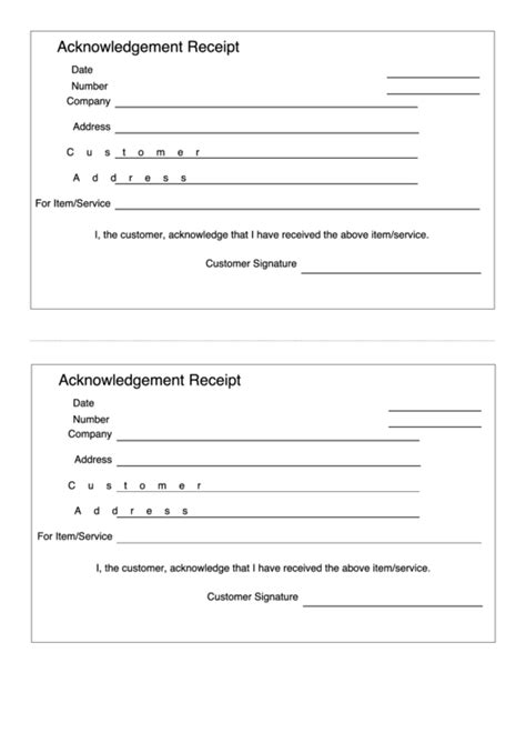 Acknowledgement Receipt Template printable pdf download