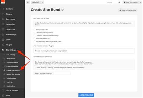 createexport  site bundle mura docs