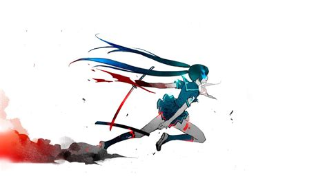 Simple Anime Wallpaper - anime katana simple background white background blue