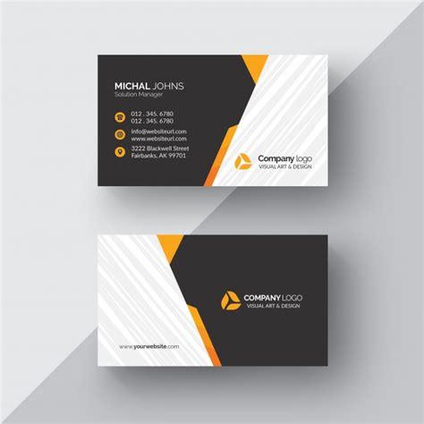 black business card  orange details psd file