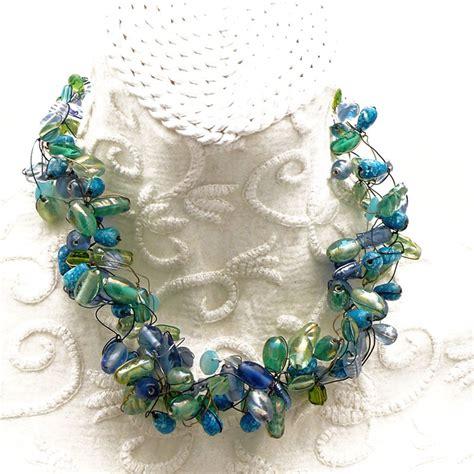 ras de cou perle gros collier cou perle verre vert bleu achat vente