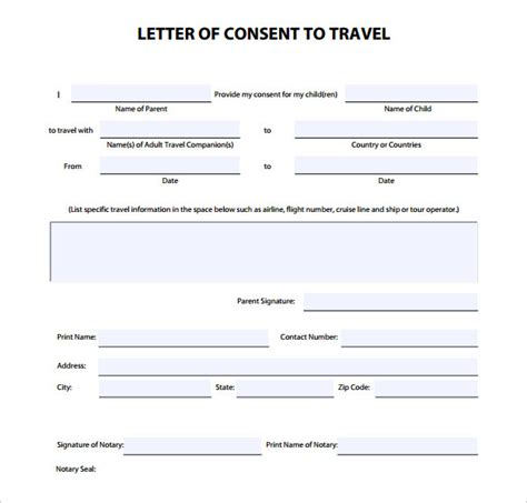 letter of permission to travel 7 notarized letter template doc pdf free premium 11981