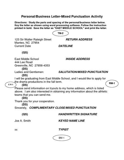 personal business letter personal business letter block format mixed punctuation 25464