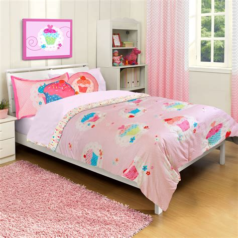 cupcake dreams twin bed comforter and sham set 2pc pink