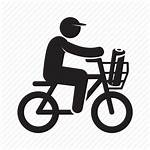 Delivery Bicycle Icon Newspaper Sender Riding Editor