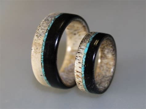 wedding band set deer antler ring set with ebony wood and