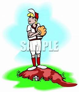 Stubborn Girl Baseball Pitcher - Royalty Free Clipart Picture