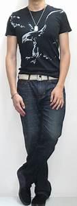 Black Graphic Tee Gold Webbing Belt Dark Blue Jeans Black Sneakers - Menu0026#39;s Fashion For Less