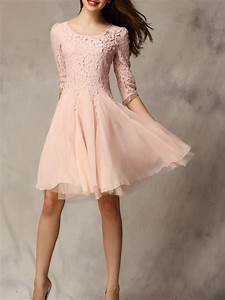 open big discount pink lace panel party dress best quality With robe temoin rose pale