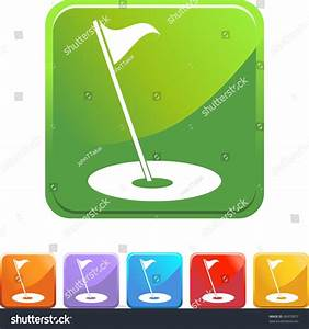 Golf Flag Web Button Isolated On A Background Stock Vector ...