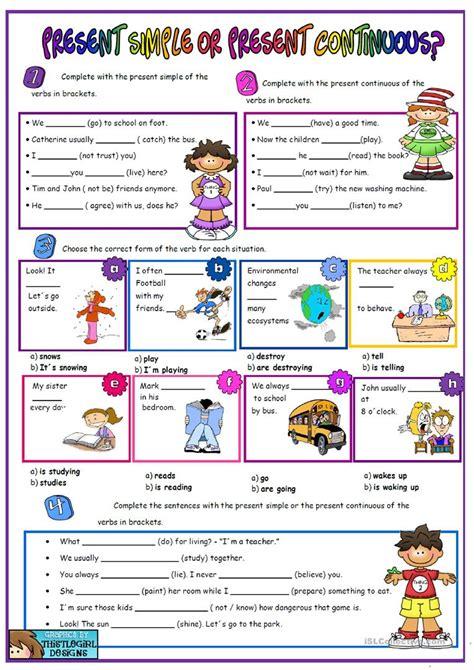 present simple vs present continuous worksheet free esl