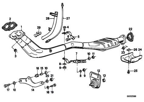 Bmw E30 Part Diagram by Original Parts For E30 318i M10 4 Doors Exhaust System