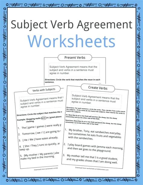 subject verb agreement worksheets high school xugerinfo