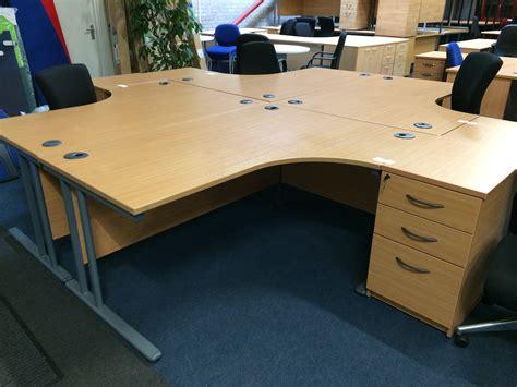 Office Desk Used by Used Hawk Radial Desks And Desk High Pedestals 16 5 15