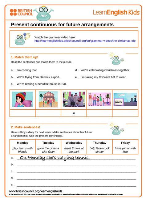 grammar worksheet present continuous future gwg