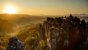 Landscape, Sun, Valley, Saxon, Switzerland, Wallpapers, Hd