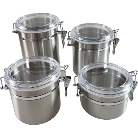 vintage set of jars stainless stainless steel canisters canister set 3 stainless steel