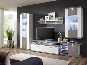 Möbel In Betonoptik : ideal m bel wohnwand kombination 5 teilig wei mit betonoptik ~ Frokenaadalensverden.com Haus und Dekorationen
