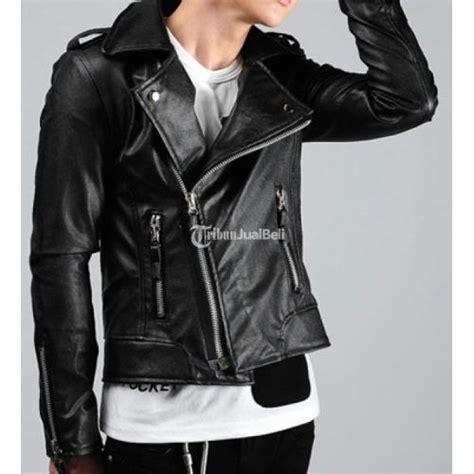 jaket kulit korea sk  warna hitam  style biker