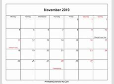 November 2019 Calendar Printable with Holidays PDF and JPG