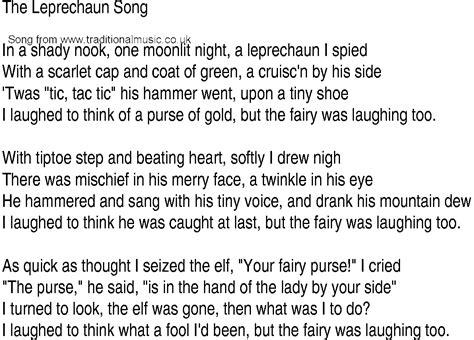 irish  song  ballad lyrics  leprechaun song