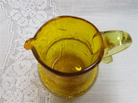 vintage hand blown amber crackle glass pitcher amber