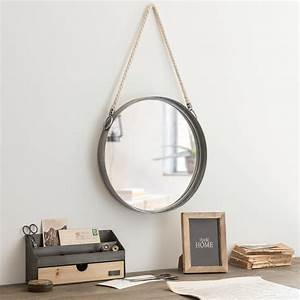 Miroir Rond à Suspendre : miroir rond suspendre en m tal avec corde d40 maisons ~ Teatrodelosmanantiales.com Idées de Décoration