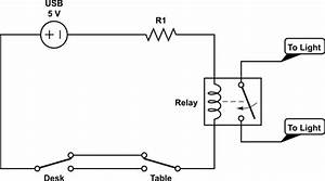 switches relay controlled light circuit help With usb lamp circuit