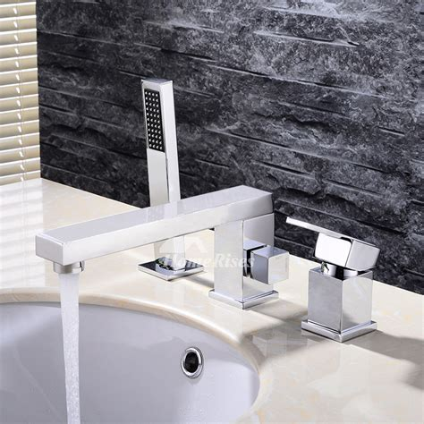 deck mount tub faucet  hole brass chrome hand shower spray
