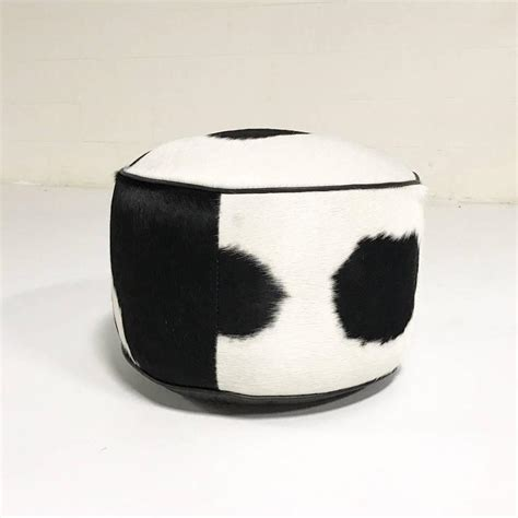 black and white ottoman black and white cowhide pouf ottoman for sale at 1stdibs