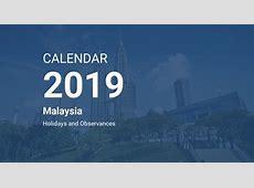 Year 2019 Calendar – Malaysia