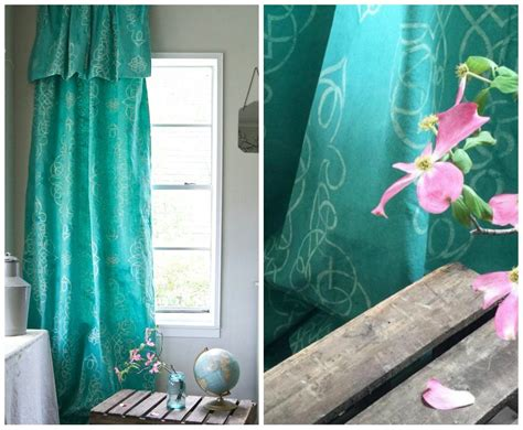 Stencil & Dye Your Own Drop Cloth Curtain How Do You Make Tab Top Curtains Acrylic Beaded India Orange Patterned Blackout Best Fabric To Use For Outdoor Regency Stripe Uk Plantation Shutters And Slide From Sheets