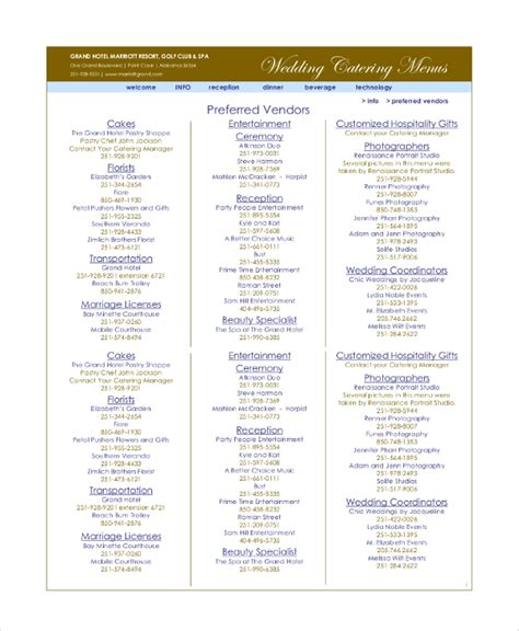 sample wedding menu templates    ms word