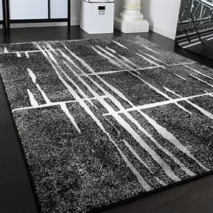 Teppich Grau Modern : designer teppich modern trendiger kurzflor teppich in grau schwarz creme meliert teppiche ~ Whattoseeinmadrid.com Haus und Dekorationen