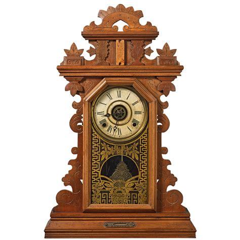 antique  ingraham pansy kitchengingerbread clock