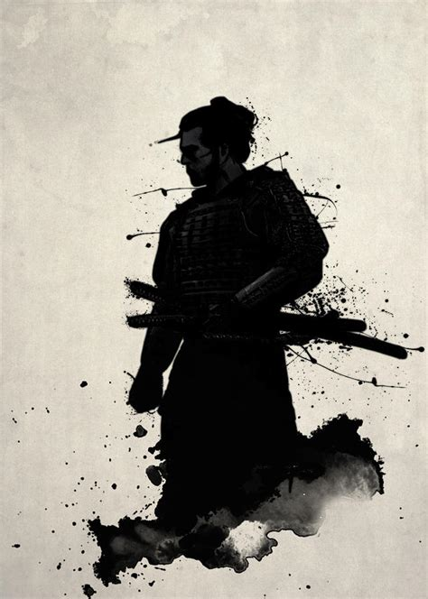 grey and white throw samurai painting by nicklas gustafsson