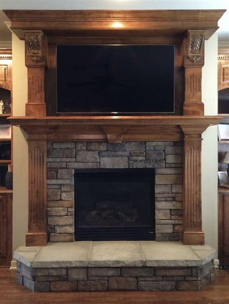 harth fireplace stacked replaces tile surround and hearth and tv
