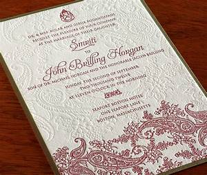 indian paisley letterpress wedding invitation by With wedding invitation wording parents and grandparents