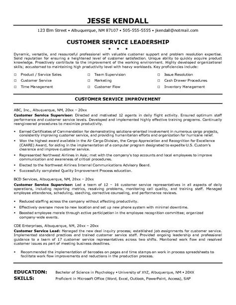 Leadership Experience On Resume Sles by Leadership Customer Service Resume Exles Free
