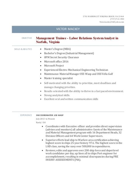 management trainee labor relations system analyst in