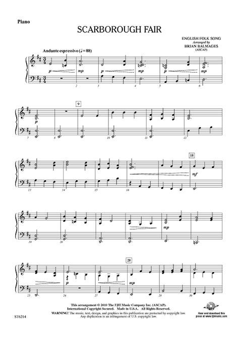Scarborough Fair  Piano Sheet Music  For Piano And More